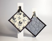 RESERVED for zinghy:  quilted pot holders - chickens hens and roosters - french in gray black and off white - ready to ship