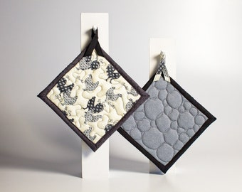 quilted pot holders - chickens hens and roosters - french in gray black and off white - ready to ship