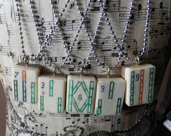 Vintage Celluloid and Bamboo Mahjong Necklace