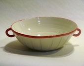 White ceramic soup bowls with red handles