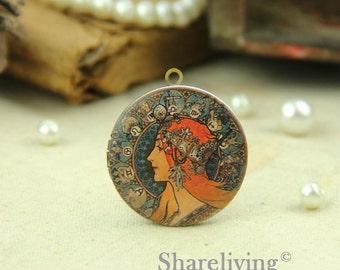 1pcs Vintage Women Locket Antique Bronze Brass Photo Locket Lady Charm Pendant 32mm 25mm 20mm Locket - HLK053B