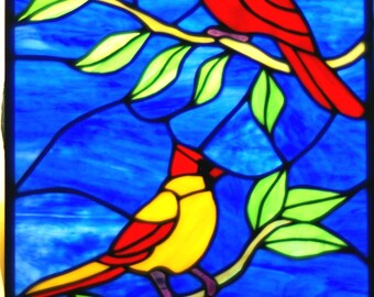 Handmade Stained Glass Panel of a Male and Female Cardinal, Red Bird