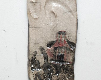 Miniature Landscape Raku Ceramic Wall Hanging With Red Hermitage, Rocks and a Crackle White Sky