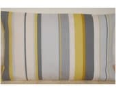 "20x12 Pillow Cover Yellow Gray and White Striped 20""x12"" Oblong Bolster Cushion Sham Case Slip Pillowcase 12x20 Stripes Mustard Grey Stripe"