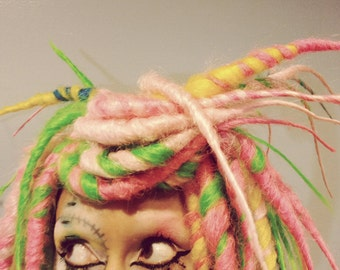 Candy Stripe Hair, Dreadlock Wig, bright colorful dread locks, Steampunk Costume, Halloween Party Wig, Crude Things
