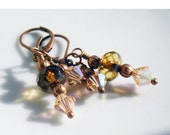 HOLIDAY SALE 35% OFF  - Earrings Burnished Copper Peach Czech Glass Swarvoski Crystals, Vintage Inspired