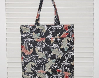 Handy Tote Quilted Asian Japanese Fabric Koi Fish Design Black