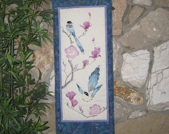 Quilted Wall Hanging Birds and Chinese Magnolias Japanese Asian Design Tenugui Scroll Size