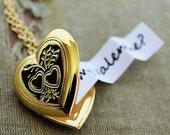 Heart Locket - Secret Message Locket - Shiny Gold Edition - Customized with your personal message