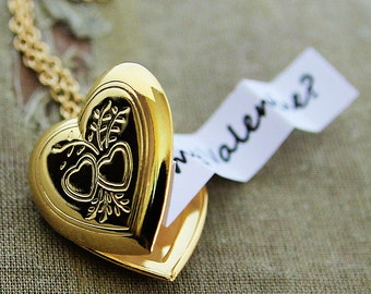 Secret Message Heart Locket - Shiny Gold Edition - Customized with your personal message for Valentine's Day