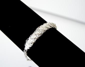 Vintage Filigree Sterling Silver Bracelet - Jewelry 925 Whimsical Wire Filigree Bracelet Christmas Gift Present for Her