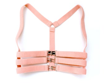 Caged Body Harness, Pink Elastic Harness, Body Harness, Pastel Harness, Soft Grunge, Stretch Underbust Harness, Cage Harness, Body Harness