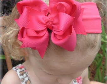 Shocking Pink Baby Hair Bow Headband Infant Toddler Girls Unique Pageant Hair Accessory Clip Barrette Exclusive Dark Pink Bows Easter Spring