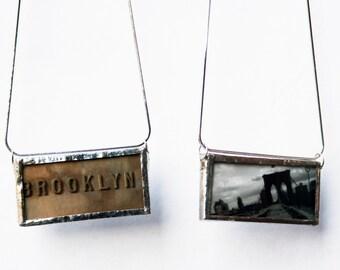 BROOKLYN PENDANT - Black and White Brooklyn Bridge - Brooklyn