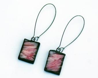 EARRINGS - Kidney Wire Glass Earrings - Pink Texture - Valentine's Day