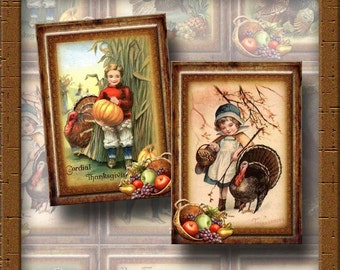 RuSTiC Thanksgiving Fall/Autumn Vintage Art Tags/Cards -INSTaNT DOWNLoAD- Printable Collage Sheet Download JPG Digital File