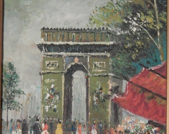 Vintage . Signed . Oil Painting . Impressionism . Paris Scene