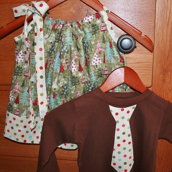 Boy Girl Twin Christmas Set - Trees and Polkadots Girls Pillowcase Dress in Red and Green and Matching Boys size 2 Tie Shirt READY to SHIP