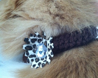 Crocheted Pet Collar Brown with Flower