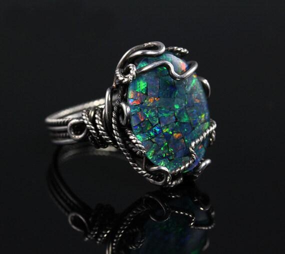 Opal Mosaic Ring