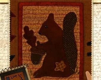 Primitive Folk Art Wool Applique Pattern - Buttermilk Basin Live Simply bom September  - Primitive Squirrel Acorn