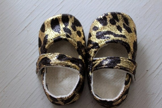 Mary Jane baby booties newborn toddler boy girl shoes leopard animal print shiny gold holiday christmas Infant Soft Soled non slip SWAG