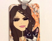 Keychain -  Cat Person