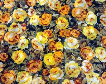 Fabric Sheer Roses Yellow and Orange
