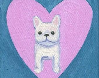 Frenchie & Heart- 4 x 4 Mini Art Print