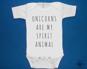 Unicorns are my spirit animal baby one piece bodysuit shirt creeper screenprint Choose Size