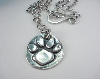 Sterling Silver, Paw Print, Necklace, Cat Paw, Dog Paw, Tiger Paw, Lion Paw, Charm Necklace, 16 Inch Chain, 17 Inch Chain, 18 Inch Chain