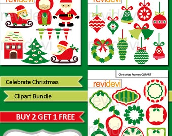 Christmas Clipartsale bundle, green red, commercial use / santa, frame, tag, ornaments clip art / digital images, instant download