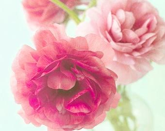 Pink Ranunculus Print, Flower Photography, Floral Decor, Flower Art Print  Pastel Wall Art