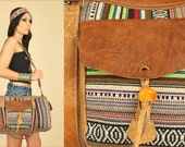 Tribal WEEKENDER Woven Cotton LEATHER Striped Festival Duffel Bag Tote HiPPiE BoHo Travel