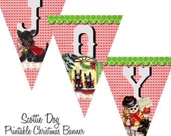 Scottie Dog Christmas Banner  - DIY - Printable Banner - Print at Home - INSTANT DOWNLOAD