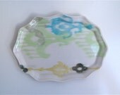 Fluted Oval Porcelain Ikat Tray