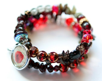 Boho Wrap Bracelet - Bright Rose Red with Garnets, Labradorite, Antique Buttons, Freshwater Pearls & Charms - Love