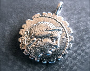 Ancient Roman Coin Reproduction - Solid Sterling Silver charm - 17mm - front and back design