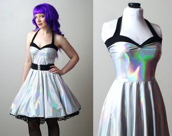 silver holographic Yvonne swing dress custom - smarmyclothes