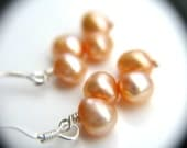 Peach Bridesmaid Earrings . Peach Wedding Jewelry . Silver and Peach Earrings . Freshwater Pearl Earrings - Hargrove Collection