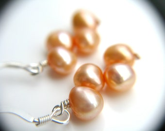Peach Earrings . Peach Wedding Jewelry . Silver Pearl Earrings . Peach Earrings . Freshwater Pearl Earrings - Hargrove Collection