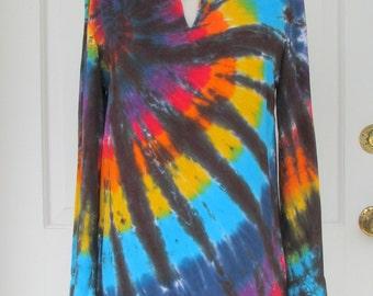 Tie Dye Black Rainbow Tunic Caftan