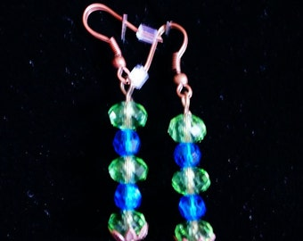 Blue and Green Crystal Dangle Earrings, Copper French Wires, Ladies Jewelry