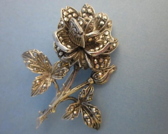 Vintage Sterling and Marcasite Flower Brooch