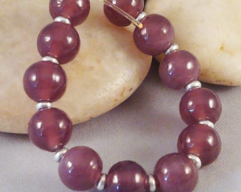 Translucent Plum Purple Set of Round Lampwork Glass Beads for Jewelry by Solaris Beads 2306