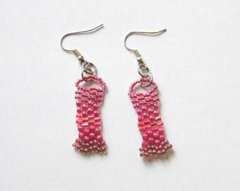 Pink Freeform Earrings - Rose Beaded Earrings - Freeform Peyote Earrings - Beaded Earrings