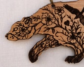 Bramble Bear engraved alder wood pendant