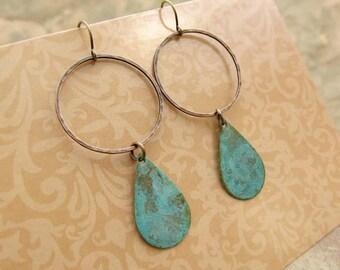 Bohemian earrings Geometric dangle earrings Copper earrings patina Verdigris  hipster jewelry