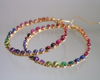 Rainbow Gemstone Hoops, Colorful Earrings, Bohemian Jewelry, Sapphire, Tourmaline, Hand Wrought, Wire Wrapped, Signature, Made to Order