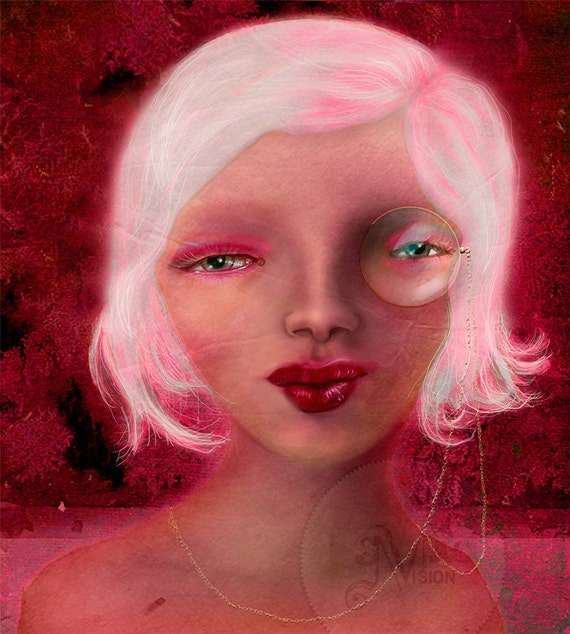 Admirable Monocle Girl In Magenta Red And Pink Mixed Media Digital Short Hairstyles Gunalazisus
